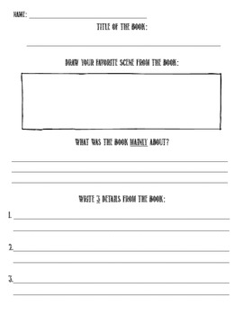 Main Idea & Supporting Details Graphic Organizer (Fiction OR Nonfiction)