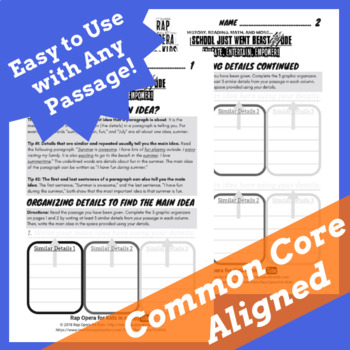 Main Idea Supporting Details Graphic Organizer Worksheet For Reading Passage