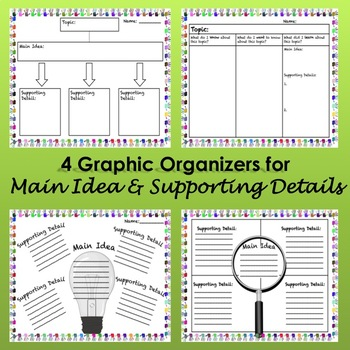 Main Idea & Supporting Details Graphic Organizers / Charts FREE
