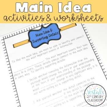 Main Idea & Supporting Details Interactive Notes & Worksheets
