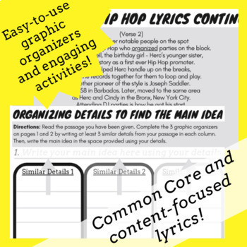 Main Idea and Supporting Details Passage Nonfiction Activity Using Rap Song