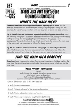 Main Idea & Supporting Details Passages & Worksheets Informational Text w/ Song