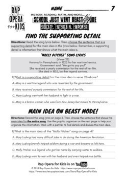 Main Idea & Supporting Details Passage & Worksheets Informational Text w/ Song