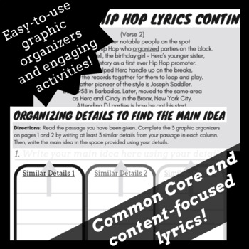 Main Idea and Supporting Details Activities with Passages Using Rap Songs #1