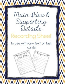 Main Idea & Supporting Details Recording Sheet