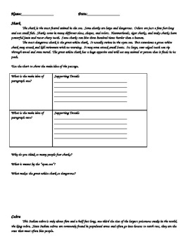 Main Idea & Supporting Details Selections with Comprehension Questions