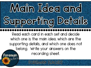 Main Idea and Supporting Details - Sort