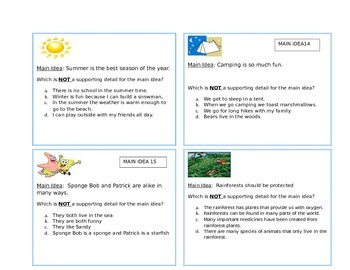 Main Idea & Supporting Details Task Cards