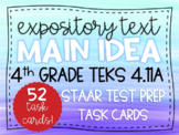 Main Idea & Supporting Details STAAR Test Prep Task Cards