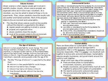 Main Idea & Supporting Details Task Cards TEKS 5.11A STAAR Test Prep Grade 5