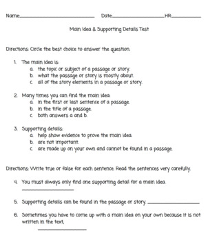 Main Idea & Supporting Details Test