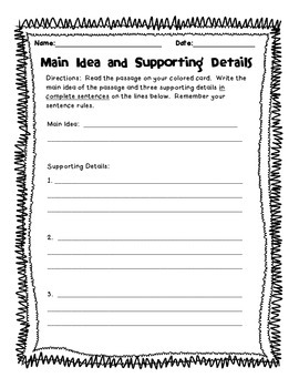 Main Idea \u0026 Supporting Details Worksheet By Victoria Porter Tpt 2nd Grade Main Idea Activities Main Idea \u0026 Supporting Details Worksheet