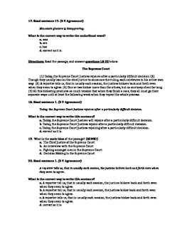 Main Idea, Supporting Details, and Subject Verb Agreement Assessment