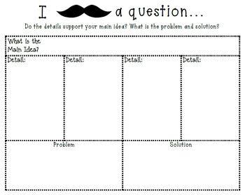 Mustache Main Idea, Author's Purpose and Problem/Solution Graphic Organizers