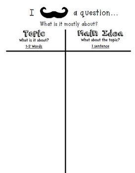 Mustache Main Idea, Author's Purpose and Problem/Solution