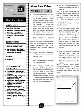 Main Idea Table – Topic and Details Activity