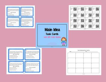 Main Idea Task Card Bundle with QR Code Option 2nd and 3rd Grade