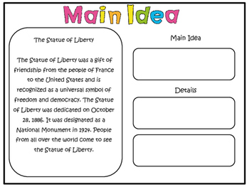 Reading Comprehension:Find the Main Idea Printables