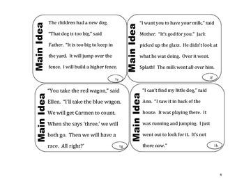 Main Idea Task Cards Level 2