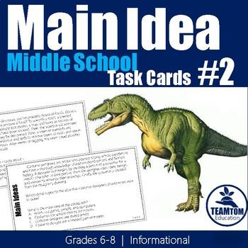 Main Idea Task Cards 2 (Grades 6-8)
