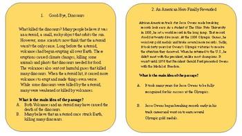RI5.2, RI4.2, RI3.2 Main Idea Task Cards (20 cards)