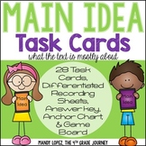 Main Idea Task Cards {28 Task Cards, 2 DIFFERENTIATED Answer Boards + More!}
