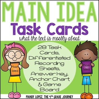 Main Idea Task Cards {28 Task Cards, 2 DIFFERENTIATED Answ