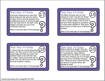 Main Idea Task Cards - {3-5 Grade, common core aligned!}