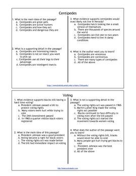 Main Idea Task Cards 5.R.RI.02