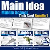 Main Idea Task Cards Bundle #1 (Middle School)