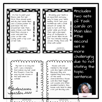 Main Idea Task Cards Bundle: Differentiated with Stated/Not Stated Topic