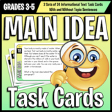 Main Idea Task Cards: Differentiated With and Without Stated Topic Sentences