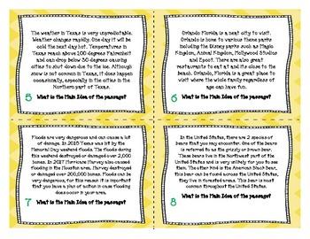 Main Idea Task Cards (English & Spanish)