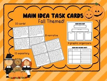 Main Idea Task Cards - Fall Themed! (Grades 3-5)