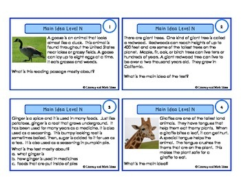Main Idea Task Cards For Each Guided Reading Level (Levels N,O,P)