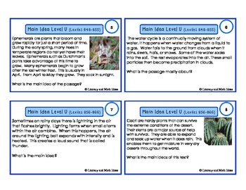 Main Idea Task Cards For Each Guided Reading Level (Levels S,T,and U)
