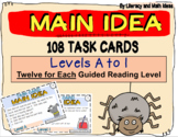 (Digital) and Printable Main Idea Task Cards For Each Level (Levels A-I)