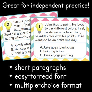 Main Idea Task Cards & Assessment