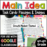 Main Idea Task Cards Passages and Images Differentiated: Growth Mindset Theme