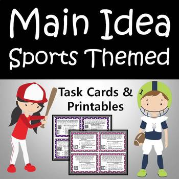 Main Idea Task Cards & Printables - Sports Themed