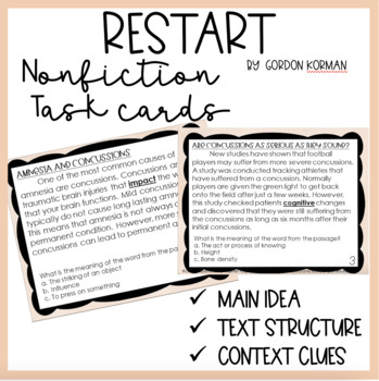 Main Idea Task Cards Related to Restart by Gordon Korman