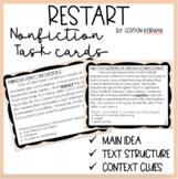 Nonfiction Reading Strategy Task Cards Related to Restart