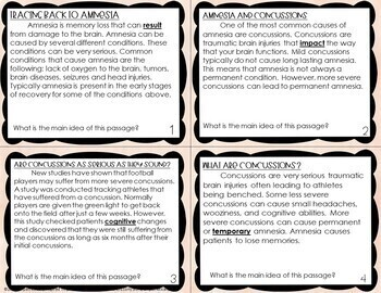 Nonfiction Reading Strategy Task Cards Related to Restart by Gordon Korman