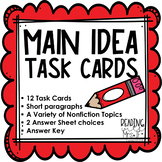 Main Idea Task Cards (Student-friendly paragraphs)