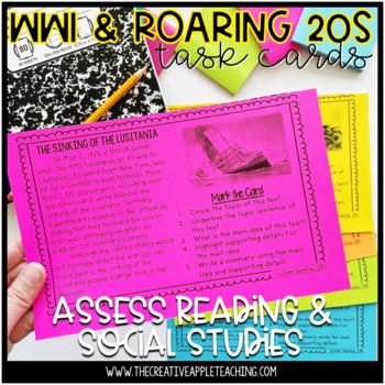 Main Idea Task Cards: WWI & The Roaring Twenties