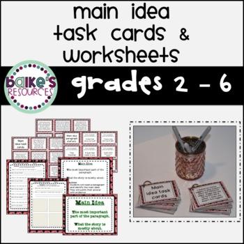 Main Idea Task Cards & Worksheets