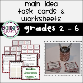 Main Idea Task Cards & Worksheets