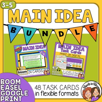 Main Idea Task Cards and Digital Boom Cards Bundle