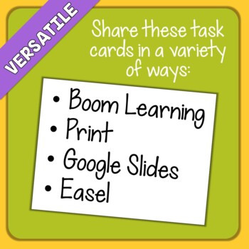 Main Idea Task Cards and Digital Boom Cards Bundle Distance Learning
