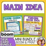 Main Idea Task Cards and Digital Boom Cards Bundle Distanc